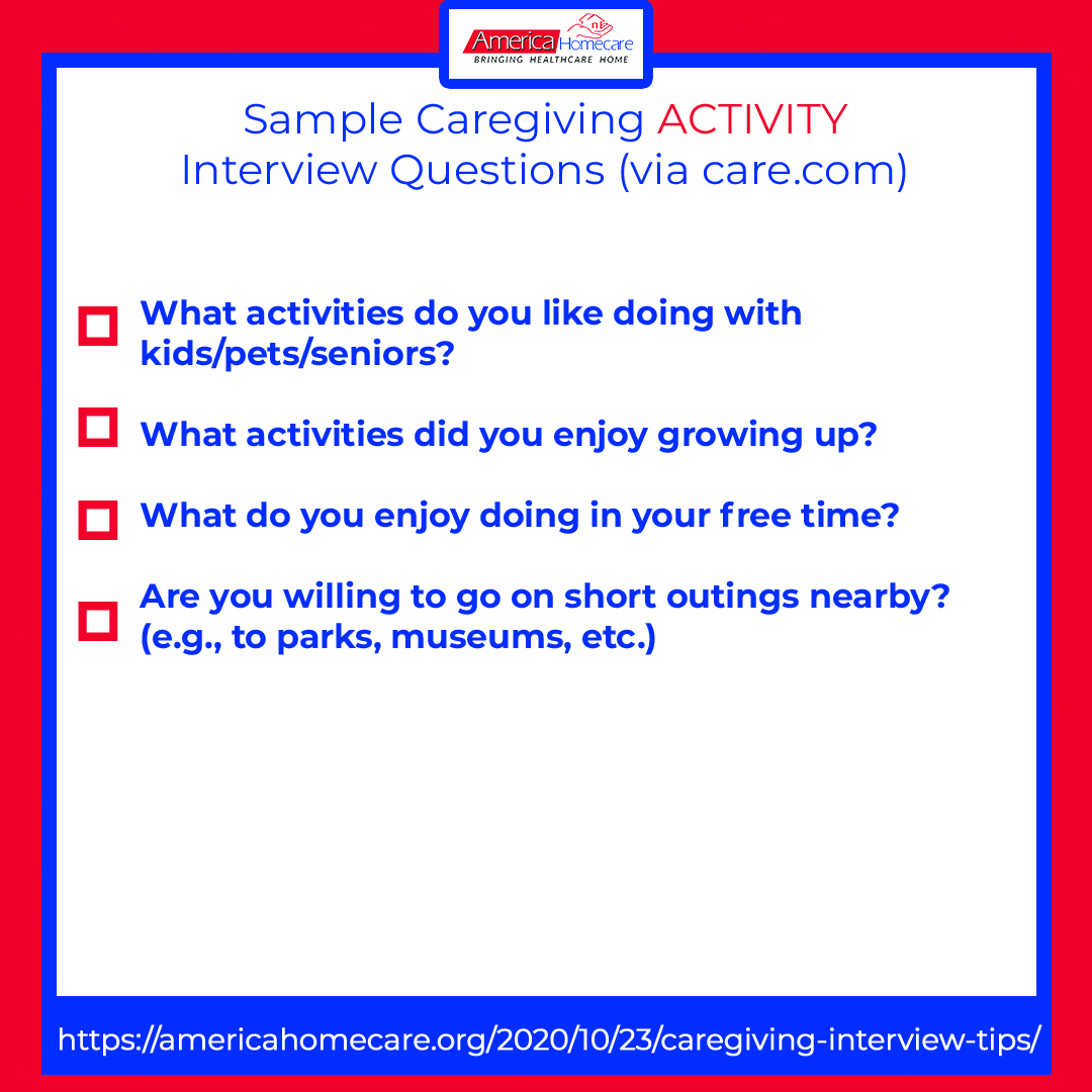 sample caregiving activity questions