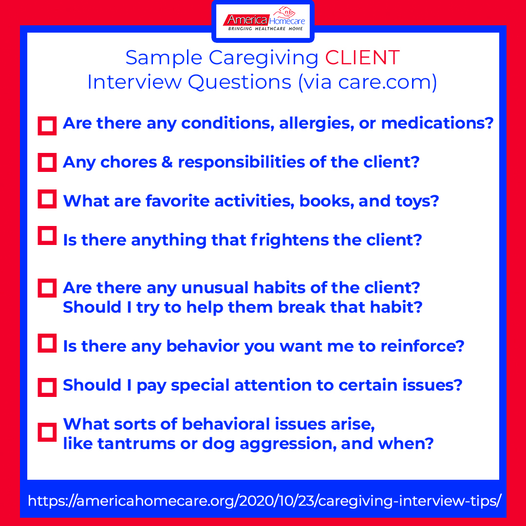 sample caregiving client questions