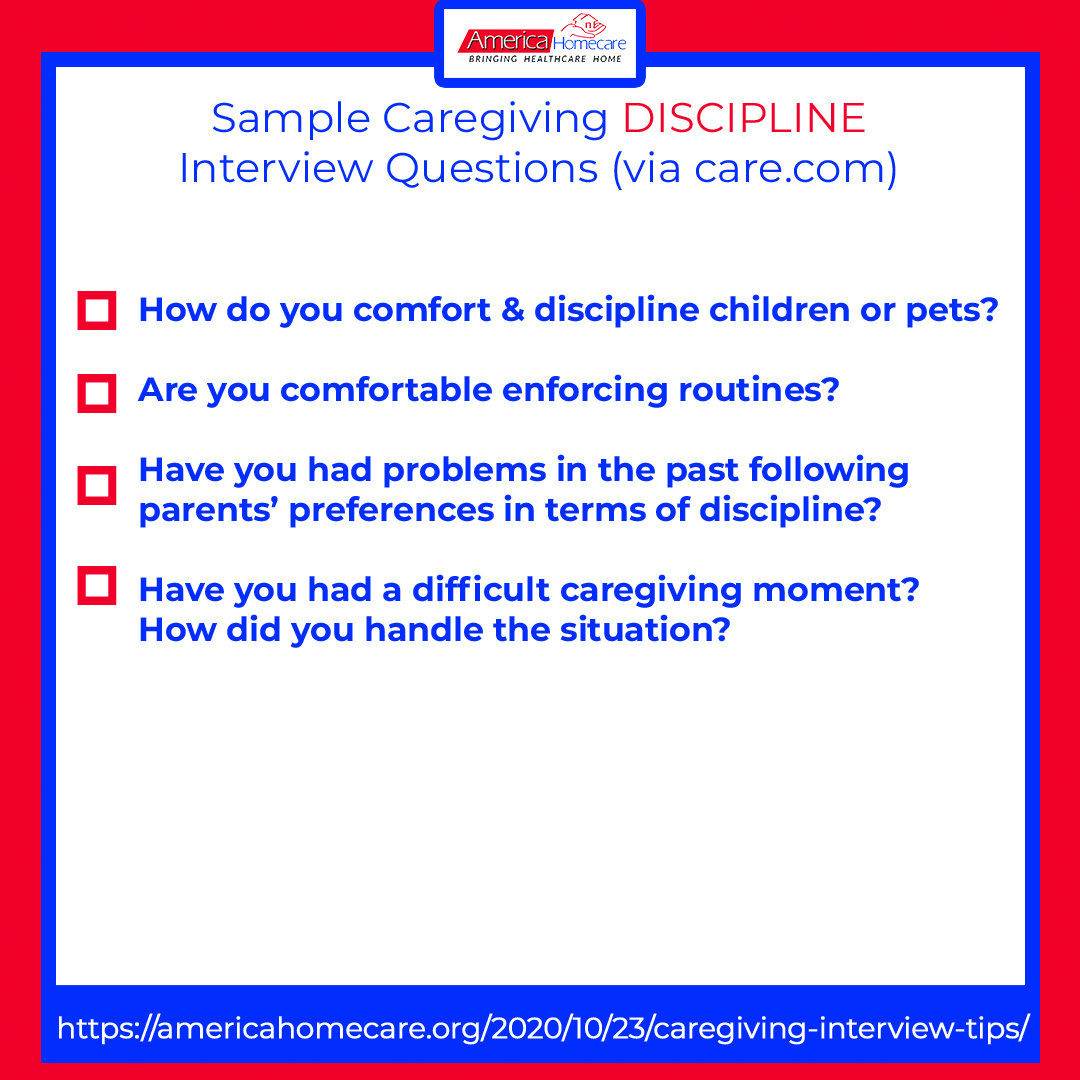 sample caregiving discipline questions
