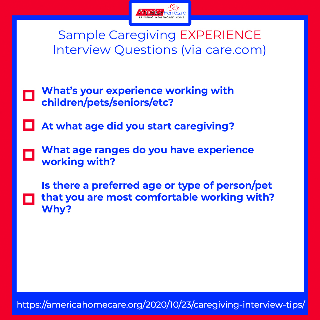 sample caregiving experience questions