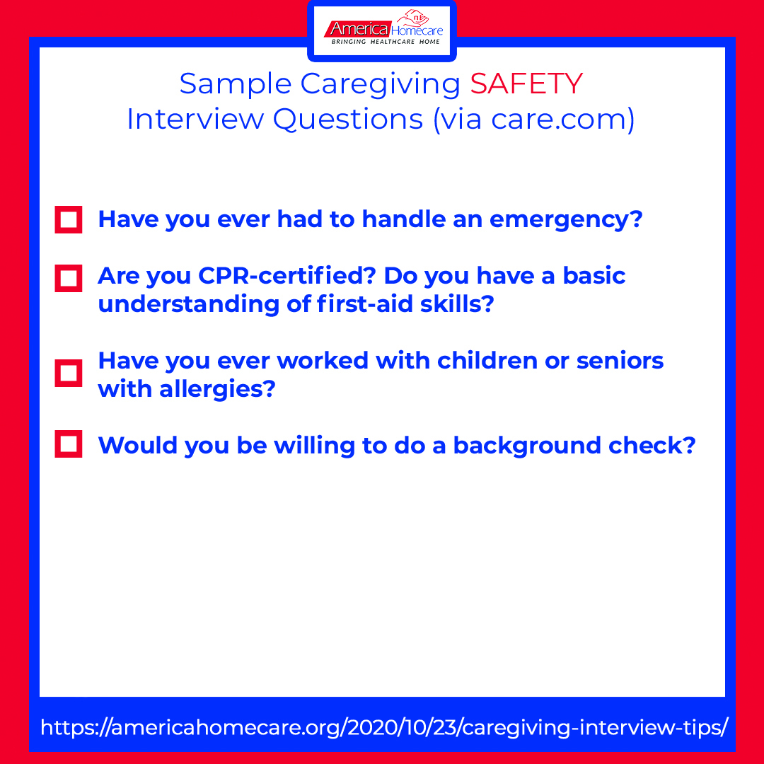 sample caregiving safety questions